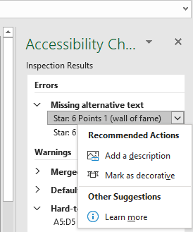 recommended fixes for accessibility in excel
