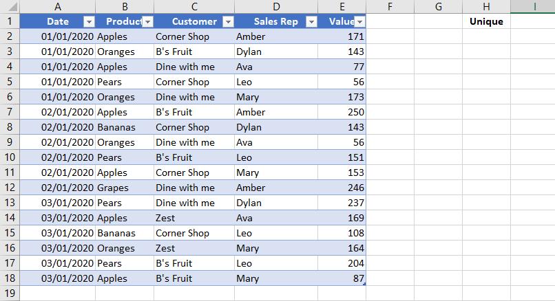 Excel Dynamic Arrays