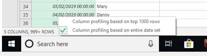 ata profiling views in power query