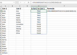 compare two lists in excel