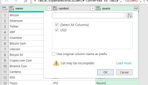 connect Excel to Coinmarketcap API
