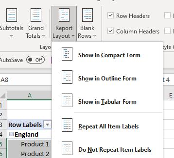 pivot table report format