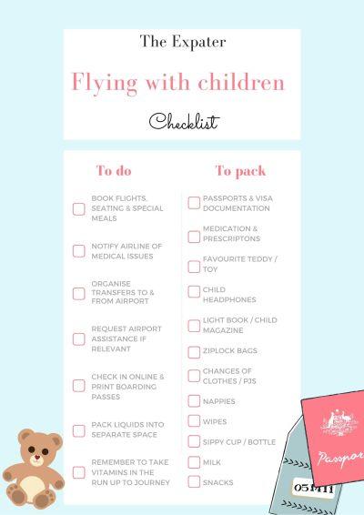 Flying with children checklist