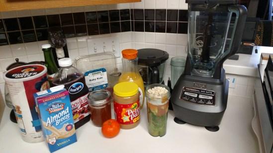 Kale, Apple, Tangerine, Peanut Butter Smoothie ninja bl770