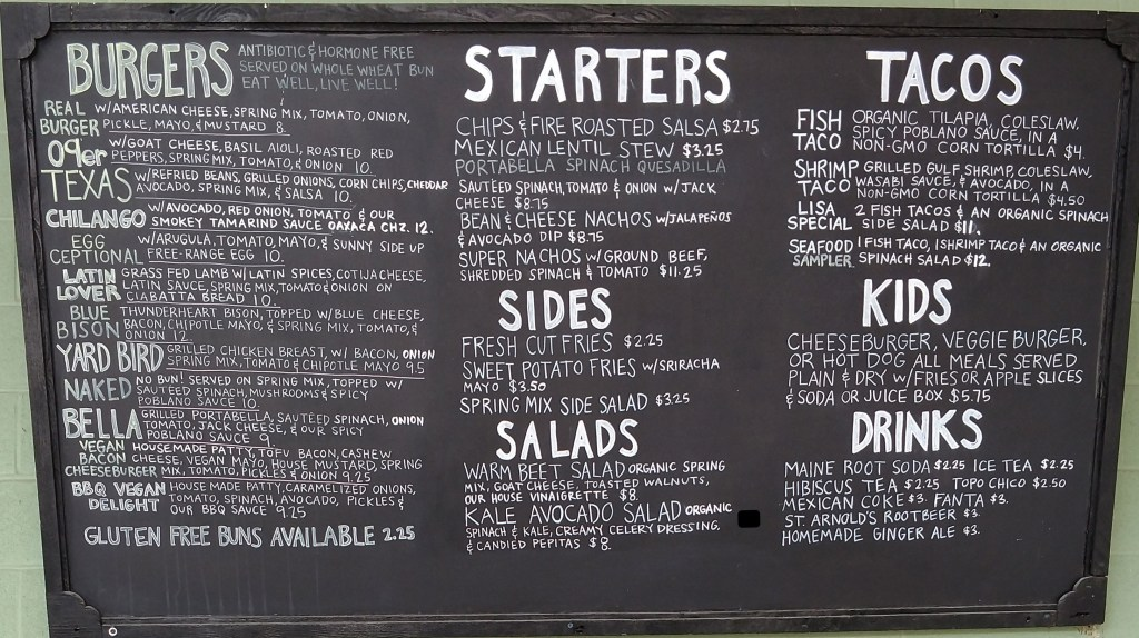The Cove Menu
