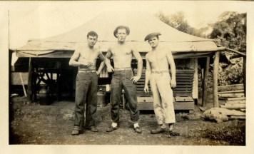 three buddies taking a break - vintage denim workwear mens fashion inspiration- 1940s