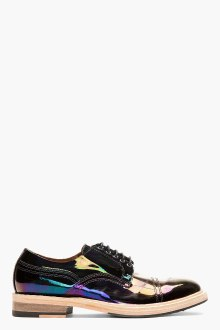 Acne- Black Iridescent Patent Oil Slick Derbys