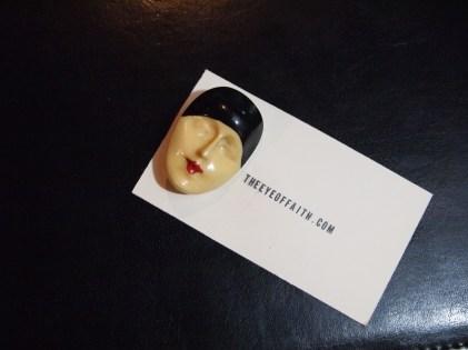 Bakelite Art Deco Lady Face Pin- The Eye of Faith Vintage