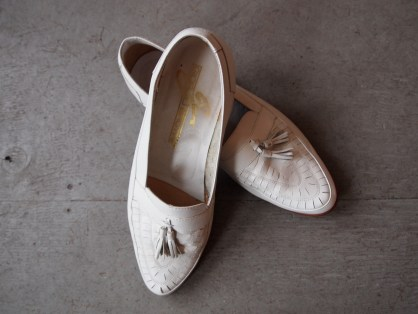 Vintage White Leather Loafers- The Eye of Faith Vintage