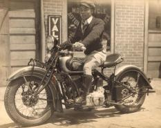 Bad Ass Indian Motorcycle Dude with Cigar- Vintage Snapshot- MALE STYLE ICON TO THE MAX- MENS FALL INSPIRATION- THE EYE OF FAITH VINTAGE- SWEATER WEATHER