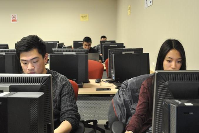 Students working at computers.
