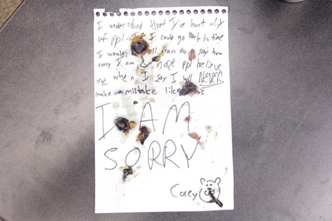 The apology note. Photo by Robert Mackenzie