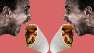 Two hyperbolic images of men eating burritos
