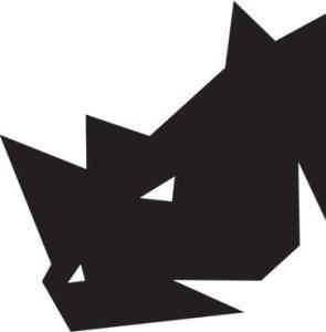 A black, angular rhinoceros head.