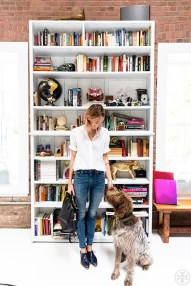 Le-Fashion-Blog-Weekend-Casual-Caroline-Ventura-Tory-Burch-Tote-Bag-White-Button-Down-Shirt-Skinny-Jeans-Navy-Oxfords-Dog-Bookshelves