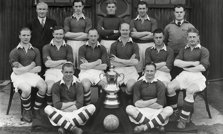 Charlton Athletic's team following their 1947 victory over Burnley at Wembley.