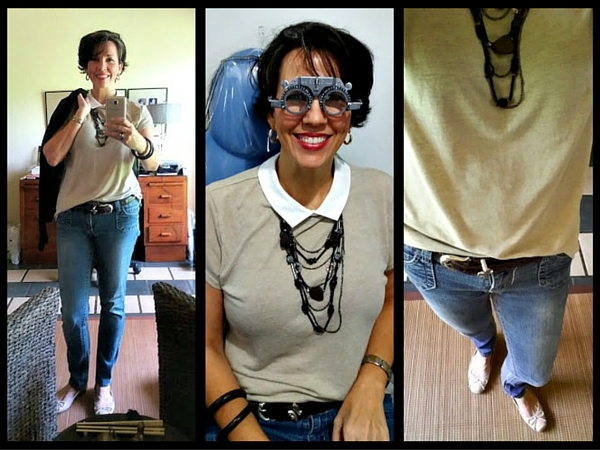 Peter Pan Collar and Skinny Jeans
