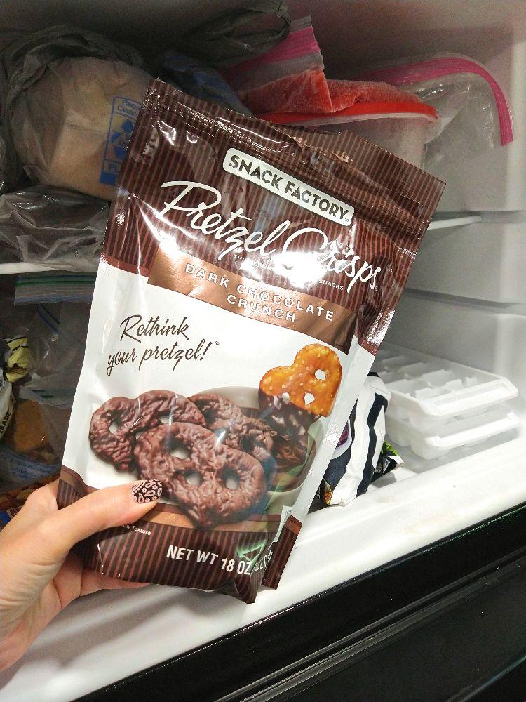 Dark Chocolate Pretzel Crisps, my favorite summer stuff