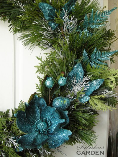 close up of wreath accented in blue