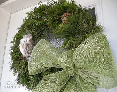 close up wreath with owl