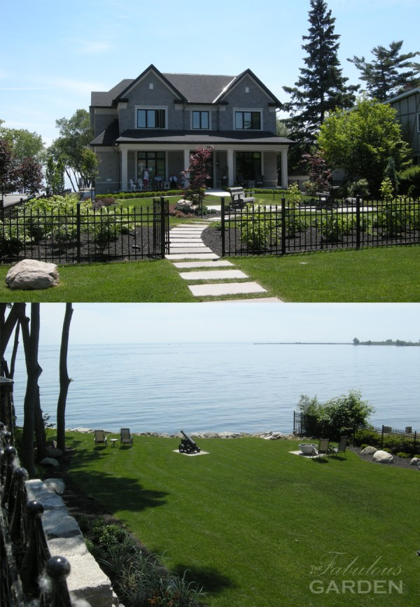 big house with formal garden and backyard view of Lake Ontario