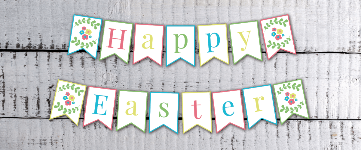picture about Easter Banner Printable titled Printable Boho Stylish Easter Banner -