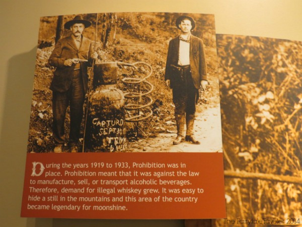 At the Oconaluftee Visitor Center there is a great exhibit on mountain life and its industry, including moonshining.