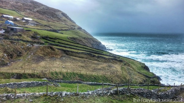 You can see the stone walls right to the cliffs. Imagine standing here, pelting winds and freezing sea spray. It's harsh conditions like these that brought people to gather, warm by the fire, and tell stories to entertain.