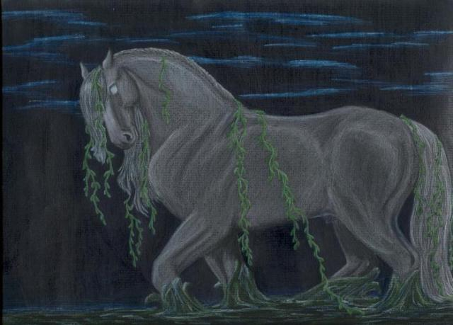 Silver eyes and a dripping mane distinguish the Kelpie from a regular pony