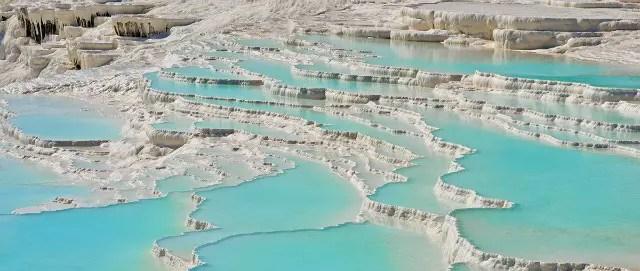 Natural thermal springs at Pemukkale Falls.