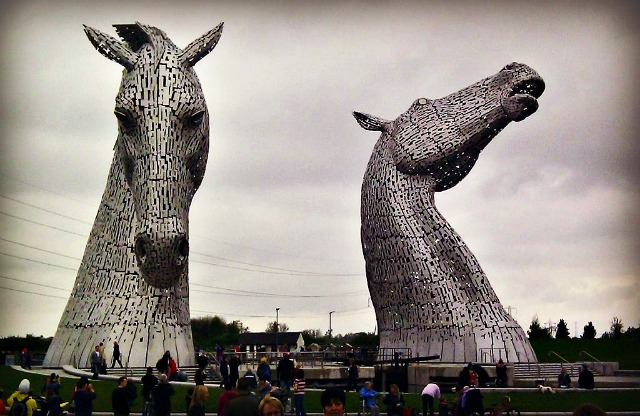 The Kelpies, The Helix, Falkirk, Scotland photo by Rosser1954 Wikimedia Commons, edited by Christa Thompson