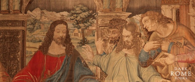 A tapestry of da Vinci's Last Supper, created by Raphael and his pupils in the Pinacoteca