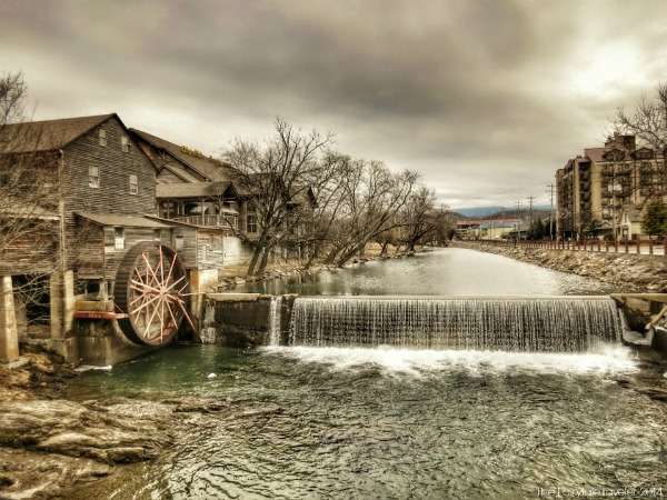 The back of the Old Mill in Pigeon Forge, TN. This looks like it is from a 100 years ago, but it was taken in January! That's how these parts are...