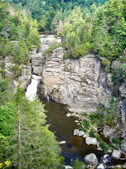 The view of Linville Falls from Chimney View. You can take a 3/4 mile strenuous hike down to the base of the river where you are rewarded by up close rack face walls, giant boulder hopping, and a perfect place to have a lunch. I have made this hike twice, it's gnarly but awesome. Photo by Christa Thompson.