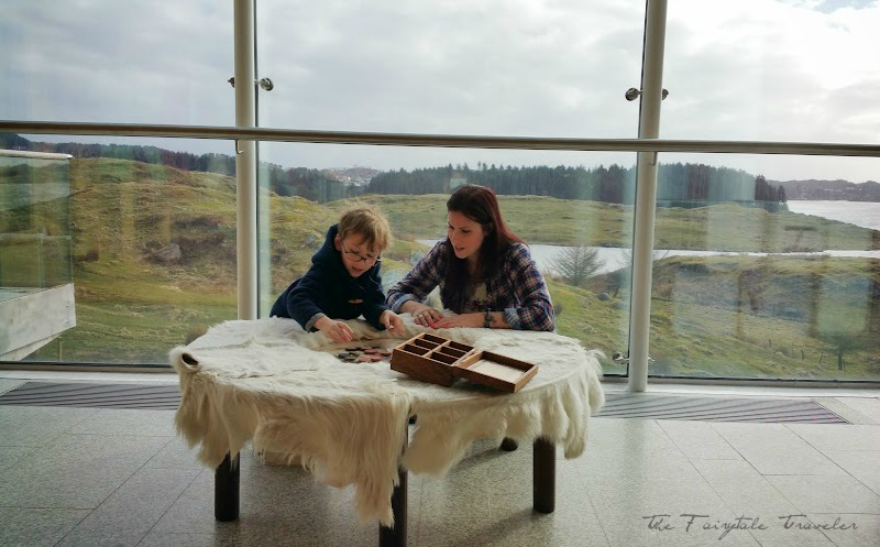 Here we are playing an old Viking game. It's very interactive for kids with games, a classroom, and a fun audio tour with movies Would love this to be my living space... what a view!