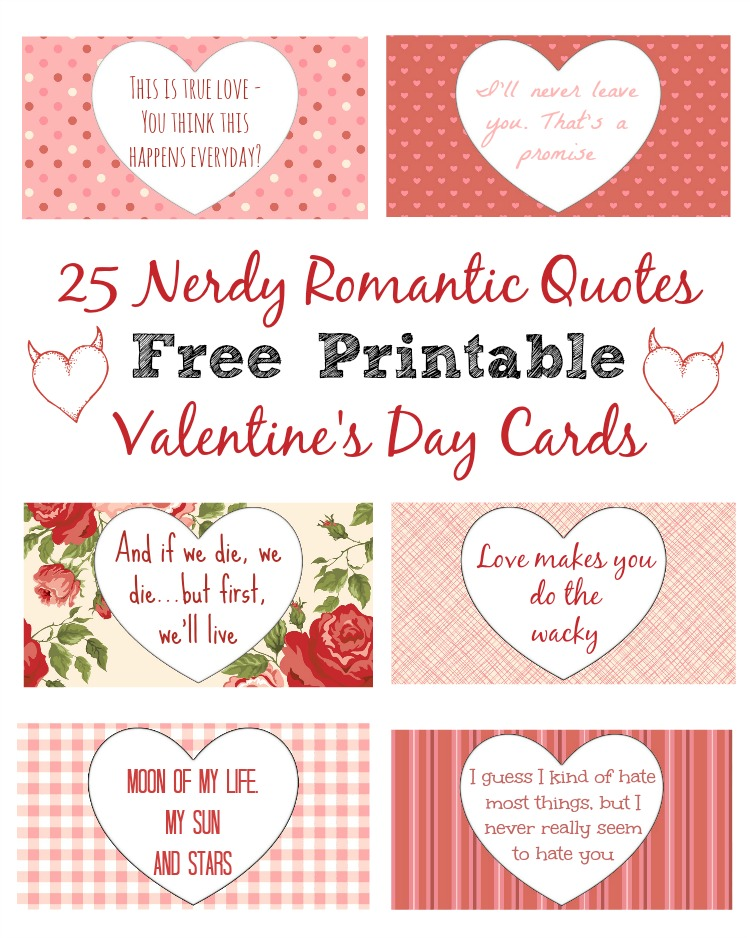 25 nerdy love quotes for him her free printables for Valentine notes for her