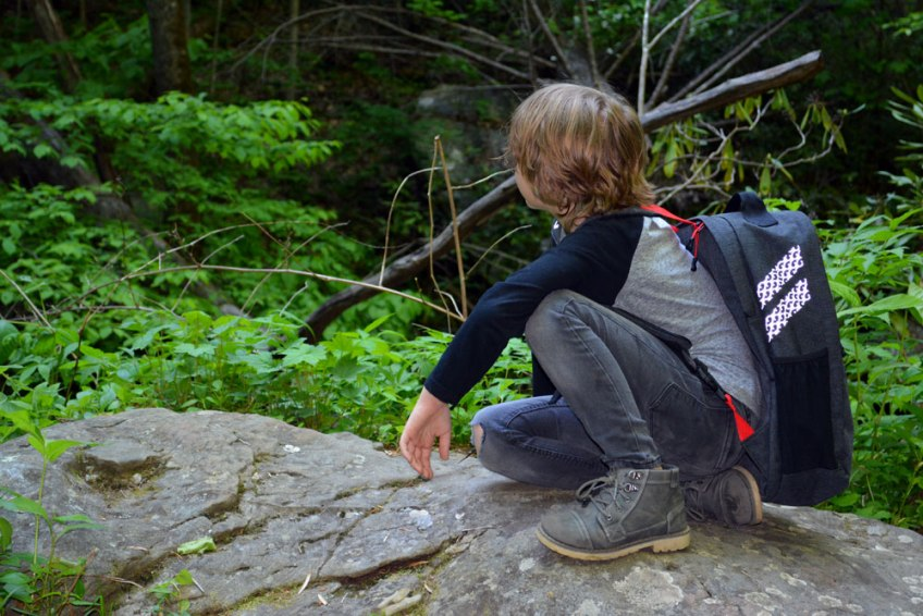 boy hiking, the little fairytale traveler, gauge kidfriendly, Gauge Rybak, Pannier Backpack, Anna Ruby Falls, Georgia, Things to do near Helen Georgia, Georgia waterfalls,