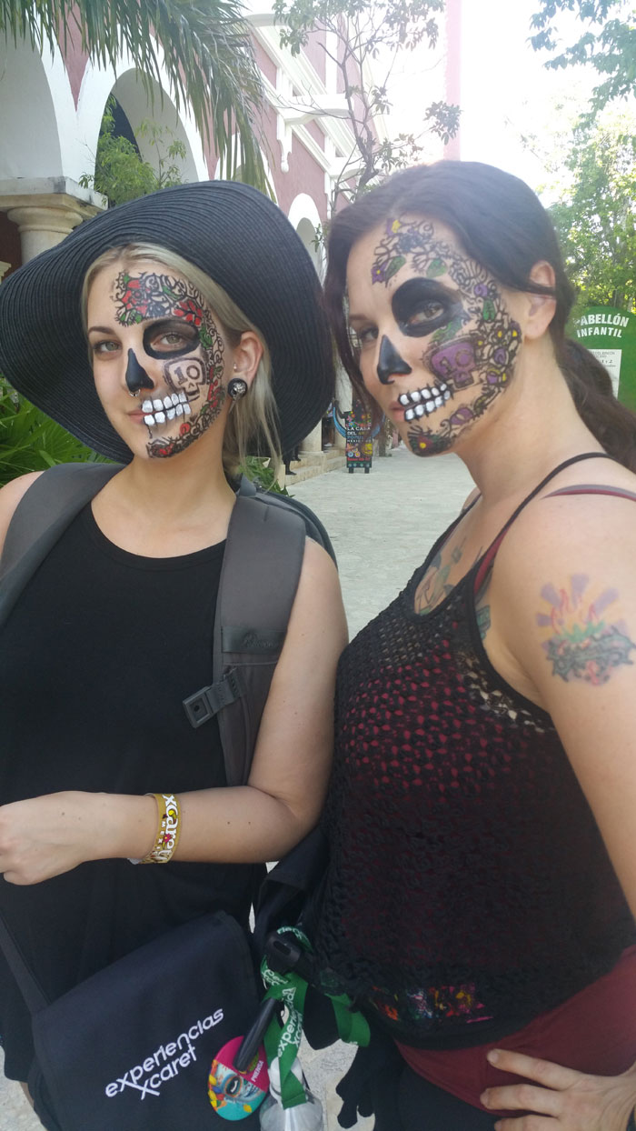 Day of the Dead vacation, Xcaret, Mexico, dia de los muertos, face painting, Christa Thompson, Madison Greer