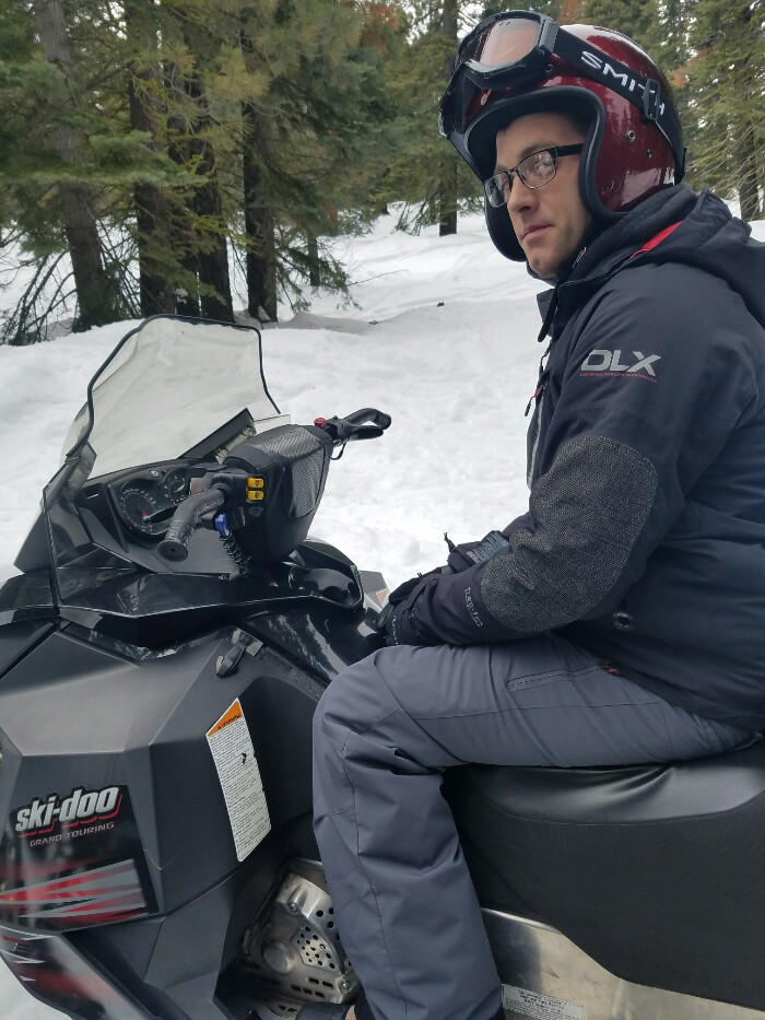 Snowmobiling for the first time, sean overstreet