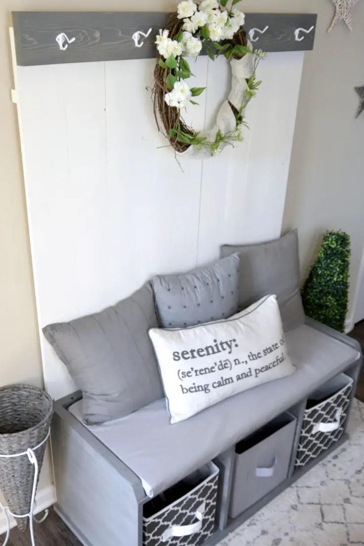 Farmhouse entryway, budget friendly farmhouse decor, handmade furniture