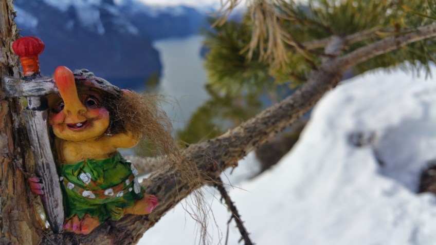 Norwegian Trolls over Fjord, Norway souvenir, travel memories