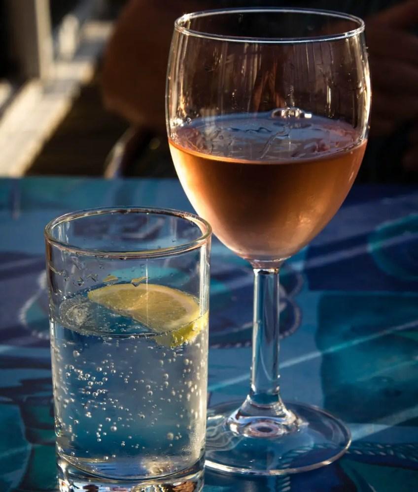 drinking, wine, water