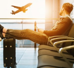long-term travel, pass time traveling from India, airport, man