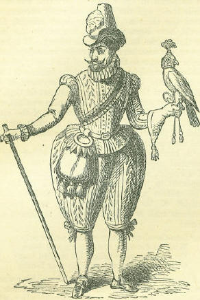 engraving from 1605 of King James 1 on a hawking trip