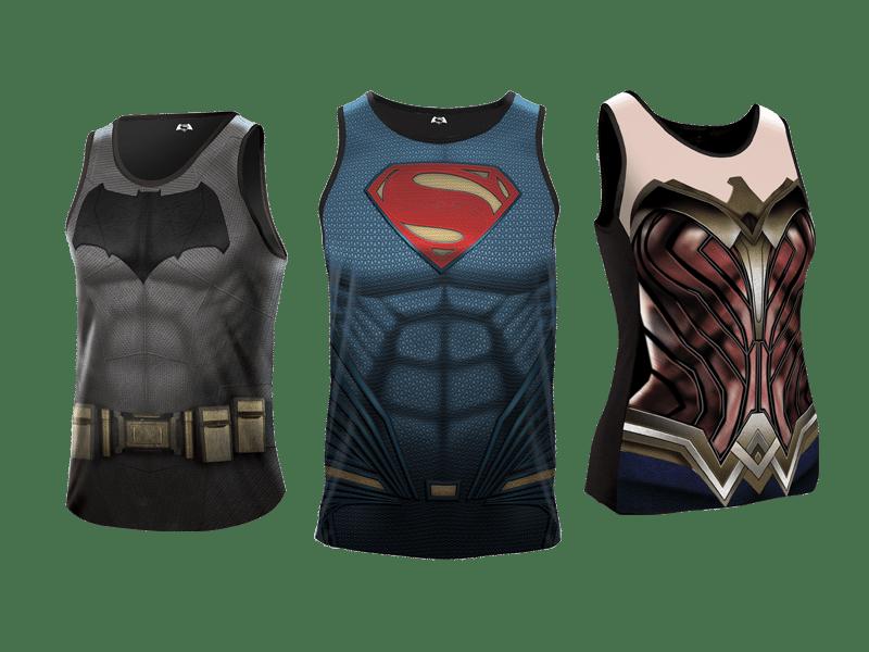 batman v superman heroes run  singlets