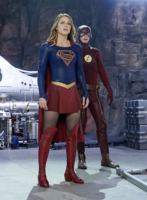 """Worlds Finest"" -- Kara (Melissa Benoist, left) gains a new ally when the lightning-fast superhero The Flash (Grant Gustin, right) suddenly appears from an alternate universe and helps Kara battle Siobhan, aka Silver Banshee, and Livewire in exchange for her help in finding a way to return him home, on SUPERGIRL, Monday, March 28 (8:00-9:00 PM, ET/PT) on the CBS Television Network. Photo: Robert Voets/Warner Bros. Entertainment Inc. © 2016 WBEI. All rights reserved."
