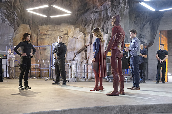 """""""Worlds Finest"""" -- Kara gains a new ally when the lightning-fast superhero The Flash suddenly appears from an alternate universe and helps Kara battle Siobhan, aka Silver Banshee, and Livewire in exchange for her help in finding a way to return him home, on SUPERGIRL, Monday, March 28 (8:00-9:00 PM, ET/PT) on the CBS Television Network. Pictured left to right: Jenna Dewan-Tatum, Melissa Benoist, Grant Gustin and Jeremy Jordan, Photo: Robert Voets/Warner Bros. Entertainment Inc. © 2016 WBEI. All rights reserved."""