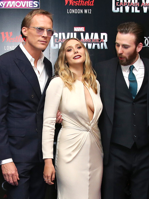 Actors Paul Bettany, Elizabeth Olsen and Chris Evans pose for photographers upon arrival at the European Premiere of the film 'Captain America Civil War' in London, Tuesday, April 26, 2016. (Photo by Joel Ryan/Invision/AP)