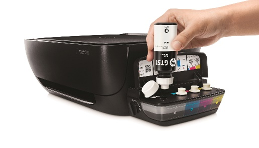 The HP DeskJet GT 5820 ink tank system ensures reliably high-quality full-color prints at less cost. Its spill-free refill system also allows for hassle-free ink replenishment.