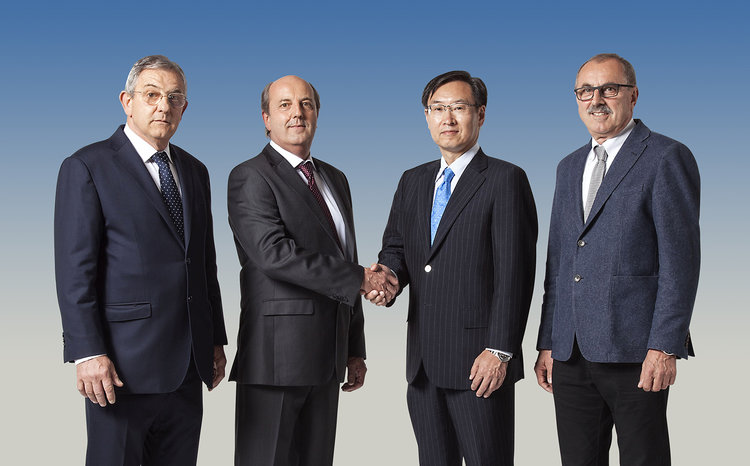 Epson global president Minoru Usui (second from right) with (from left) Sandro, Valerio and Riccardo Robustelli